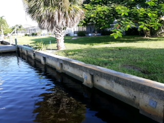 Picture of a Seawall Being Repaired in Ft Myers from the Water Side